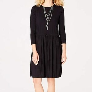 J. Jill knit drawstring dress w pleat skirt, NWT